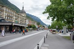 Interlaken streets in the Switzerland Mountains stock photo