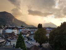 STORM ON THE HORIZON. Interlaken Switerland  storm brewing Stock Photos