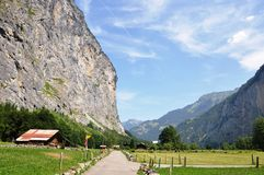 Interlaken. In Switzerland is a faimous valey with small waterfalls on the edges Stock Photo