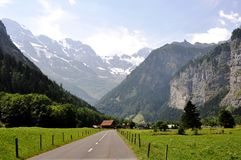 Interlaken. In Switzerland is a faimous valey with small waterfalls on the edges Royalty Free Stock Photo