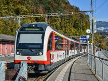 A Swiss train stopping at station royalty free stock photography
