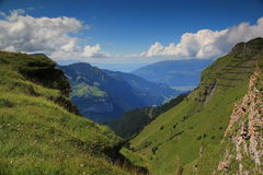 Interlaken and Thunersee seen from Maennlichen Royalty Free Stock Photos
