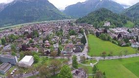 Interlaken town and Aare river, aerial view Interlaken, Switzerland. stock video footage