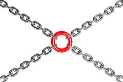 Interlinked chrome chains in cross Royalty Free Stock Photography