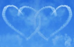 Interlinking Skywriting Hearts Royalty Free Stock Photo