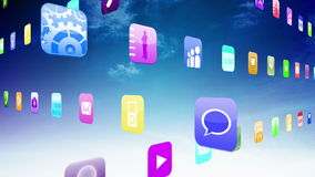 Interlocking application icons on blue sky background stock video footage