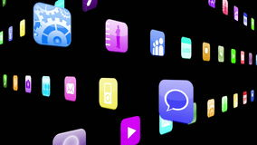 Interlocking application icons stock video