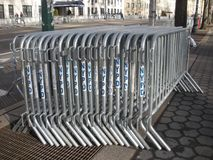 Interlocking Barricades, Crowd Control, NYPD Security, NYC, NY, USA Royalty Free Stock Image