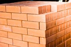 Interlocking  bricks,. A pile of bricks, interlocking Stock Image