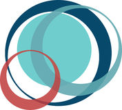 Interlocking circles. Retro styled interlocking circles in shades of green blue and lime Royalty Free Stock Photo