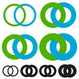 Interlocking circles, rings. Infinite symbol or logo with differ Stock Images
