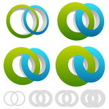 Interlocking circles, rings. Infinite symbol or logo with differ Stock Photo