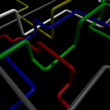 Interlocking colored tubes. Motley pipes on black background royalty free illustration