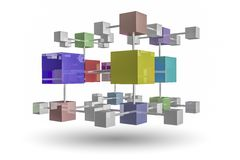 Interlocking cubes Stock Images