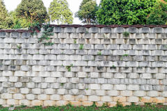 Interlocking designed retaining wall to manage earth erosion. And  landscaping Stock Image