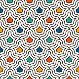 Interlocking figures tessellation background. Repeated geometric shapes. Ethnic mosaic ornament. Oriental wallpaper. Interlocking figures tessellation abstract Royalty Free Stock Image