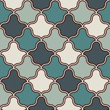 Interlocking figures tessellation background. Repeated geometric shapes. Ethnic mosaic ornament. Oriental wallpaper vector illustration