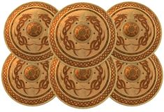An interlocking formation of several golden round shields with dragon designs. A computer generated illustration image of an interlocking formation of several vector illustration