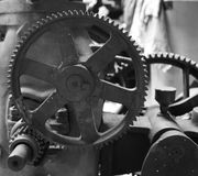Interlocking Gears. On an old pump Stock Photos