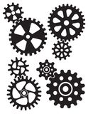 Interlocking gears and cogs design. Set of four different styles of gears or cogwheels with matching interlocking smaller gears vector illustration