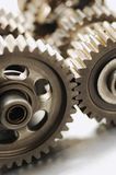 Interlocking gears. Gears, cogwheels interlocking, selective Focus Stock Images