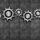 Interlocking gears on grunge Stock Image