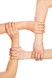 Interlocking hands Stock Photos