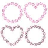 Interlocking heart frames vector clipart. Set Royalty Free Stock Photos