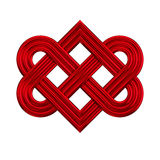 Interlocking heart knot symbol. Interlocking red heart knot icon. Metaphor for forever love, wedding, engagement, couple, strong relationship. Sign of love Stock Photography