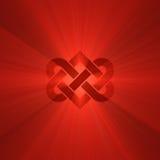 Interlocking heart knot shine light flare. Interlocking red heart knot symbol illustrated with powerful light flares. Metaphor for forever love, wedding Stock Illustration
