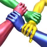 Interlocking metallic hands. 3D rendered image of four metallic interlocking hands Stock Images