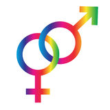 Interlocking rainbow male female symbols. Graphic Royalty Free Stock Image