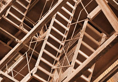 Interlocking rusty industrial constructions Royalty Free Stock Images