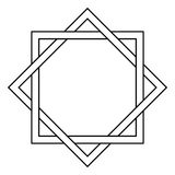 Interlocking square and diamond tattoo. Side of a square is infused with the sides of a rhombus, vector template tattoo star of David royalty free illustration