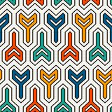 Interlocking three pronged blocks background. Winder keys motif. Ethnic seamless surface pattern with geometric figures. stock illustration