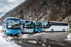 Interlokale die bussen dichtbij het bergbos bij de winter worden geparkeerd stock foto