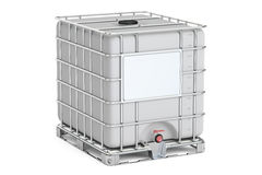 Intermediate bulk container closeup, 3D rendering. On white background Royalty Free Stock Images