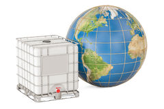Intermediate bulk container with Earth globe. Transport of liqui Stock Photo