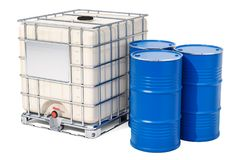 Intermediate bulk container with metallic barrels, 3D rendering. Isolated on white background Royalty Free Stock Photos