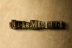 INTERMEDIATE - close-up of grungy vintage typeset word on metal backdrop. Royalty free stock illustration.  Can be used for online banner ads and direct mail Stock Photos