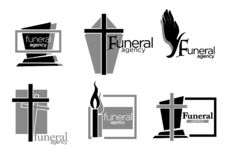 Free Interment And Burial, Funeral Services Agency Isolated Icons Stock Photos - 163801303