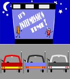 Intermission time. Retro illustration of drive in movie intermission time with empty cars Royalty Free Stock Photography