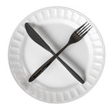 Intermittent Fasting Cross Knife and Fork on Plate Isolated Top Royalty Free Stock Photos