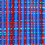 Intermittent, uneven lines seamless abstract background, blue and red, multicolored, pattern, vector. Vertical and horizontal blue and red stripes on a red Stock Photography