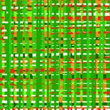 Intermittent, uneven lines seamless abstract background, green, multicolored, pattern, vector. Vertical and horizontal green and red stripes on an orange royalty free illustration