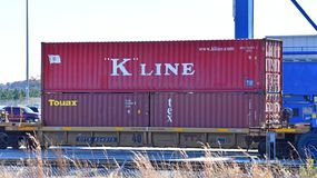 Intermodal freight sits on a rail car royalty free stock photos