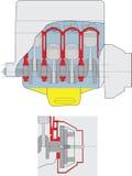 intern förbränningsmotor Arkivbild