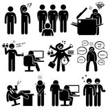 Intern Internship New Employee Staff Clipart. An intern or a new company staff is being bullied by his colleague. He has to do boring work such as photocopying Royalty Free Stock Photo