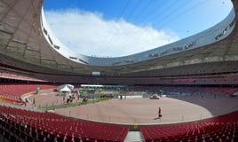 intern nationell panorama- stadion för beijing porslin arkivbilder