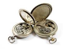 interna isolerade gammala watches för mekanism Fotografering för Bildbyråer
